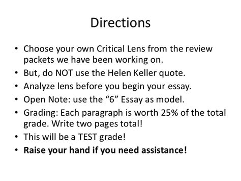 Critical Lens Essay Helen Keller by Critical Lens Essay Directions