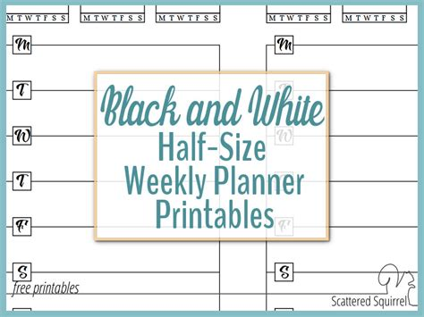 free printable planner half size half size black and white weekly planner printables