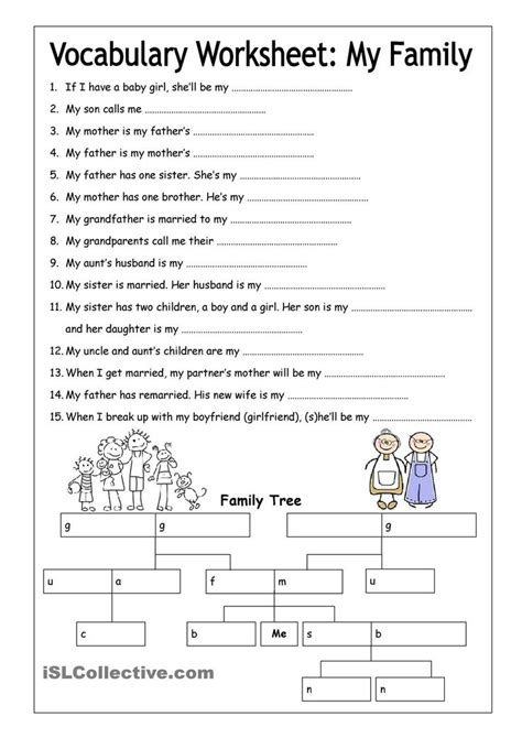 6th grade activities on pinterest 715 pins vocabulary worksheet my family medium english 6th