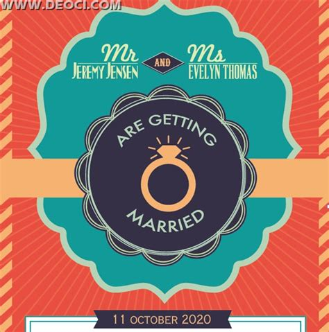 retro photo card templates vector colored retro wedding invitation card design