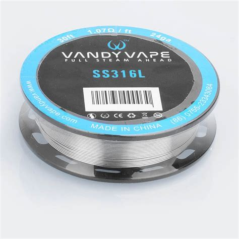 Authentic Ss316l 24ga Awg By Ud Stainless Steel 24 authentic vandy vape ss316l 24ga 1 07ohm heating resistance wire