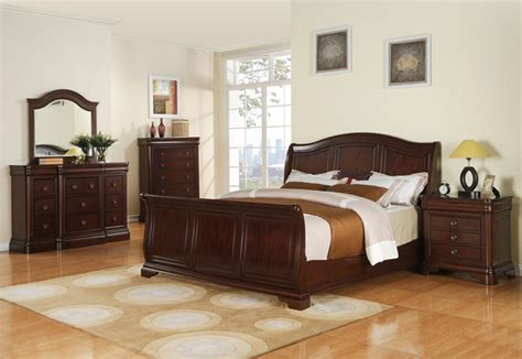 Cameron Sleigh Bedroom Set Dark Cherry Finish