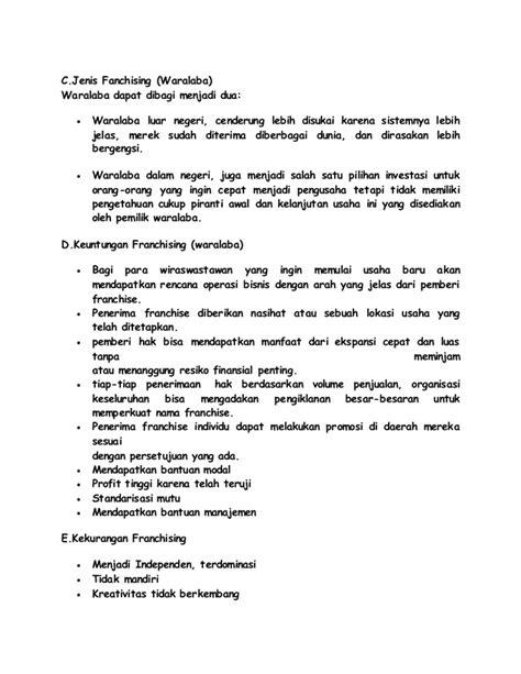 makalah rencana format pendokumentasian makalah bisnis franchise