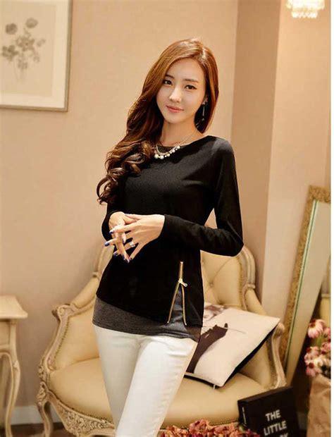 Dress Hitam Bahan Katun High Quality 1 blus wanita lengan panjang bahan katun b2725