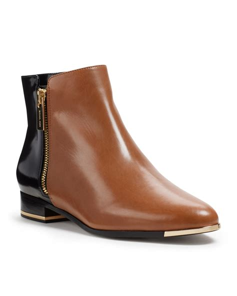 michael kors cindra twotone ankle boot in brown black lyst