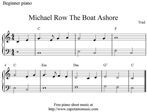 michael row your boat ashore meaning michael row the boat ashore piano sheet music