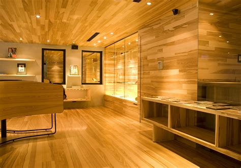 wood interior retail design showroom in wood