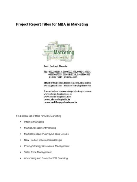 Marketing Title For Mba Project by Project Report Titles For Mba In Marketing Docshare Tips