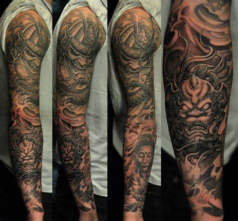 hannya mask tattoo black and grey full sleeve hannya mask and foo dog tattoo chronic ink