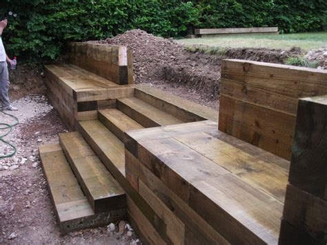 Steps, walls & Patio with new railway sleepers   Back yard