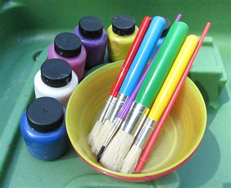 Painting Supplies by Sensory Tub Painting No Time For Flash Cards