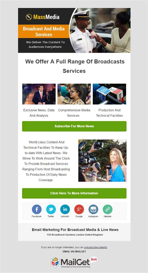 6 Best News Agencies Email Templates For Media Companies Formget Email Broadcast Template