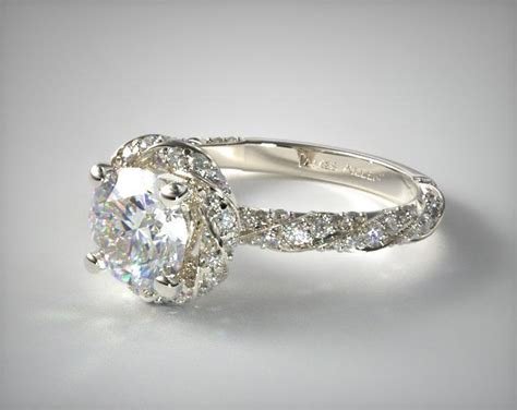 wedding bands for twisted engagement rings twisted pave halo engagement ring 14k white gold 17037w14