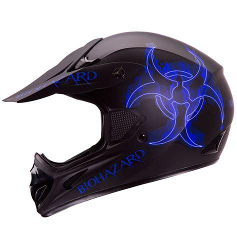 matte black motocross helmet blue biohazard matte black motocross atv dirt bike helmet