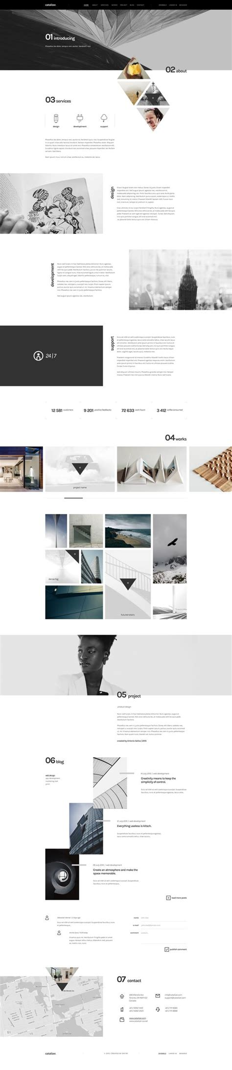 themeforest template design catalizer creative single page template psd templates