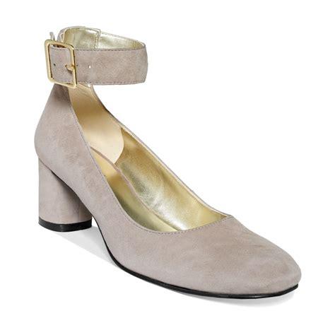 nine west servina ankle mid heel pumps in gray lyst