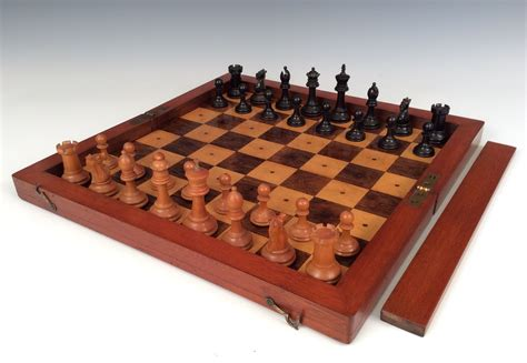 chess set rare antique liner chess set and board