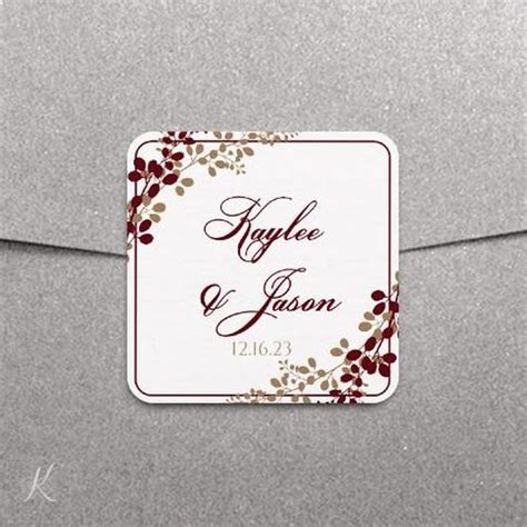 Label Or Favor Tag Template Exquisite Vines Burgundy Burlap 2x 2x2 Label Template