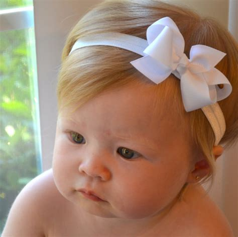 white baby bow headband baptism wedding baby