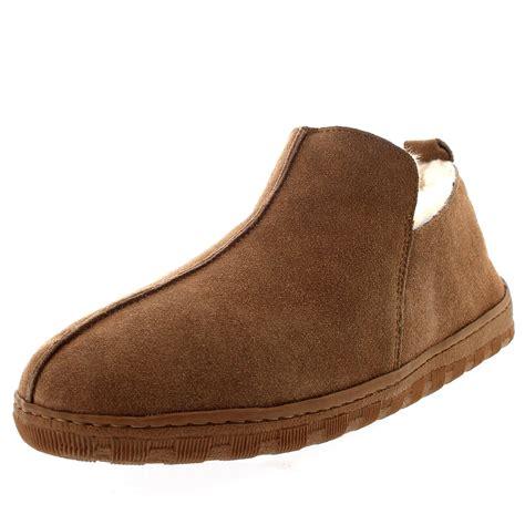 slippers mens uk mens australian sheepskin genuine fur lined boot rubber