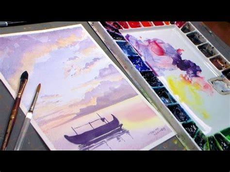 youtube tutorial paint fishing boat watercolor sunset real time painting