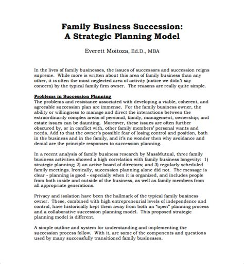 Family Business Plan Template Sle Succession Planning Template 9 Free Documents In Pdf Word