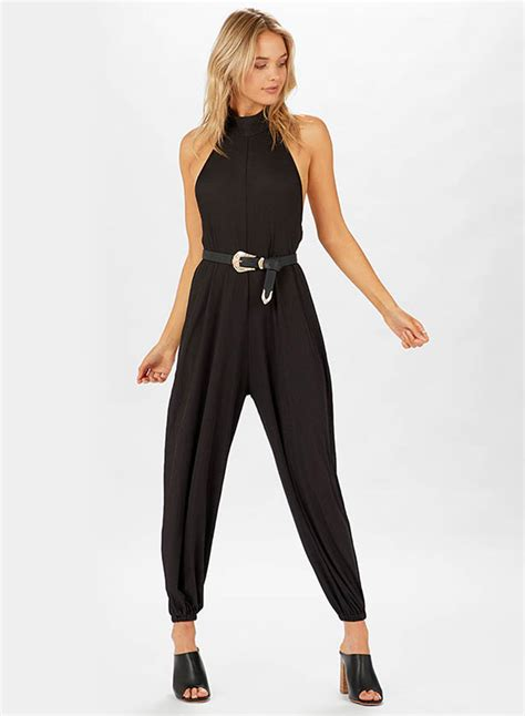 Backless Jumpsuit Size L casual halterneck backless solid jumpsuit oasap