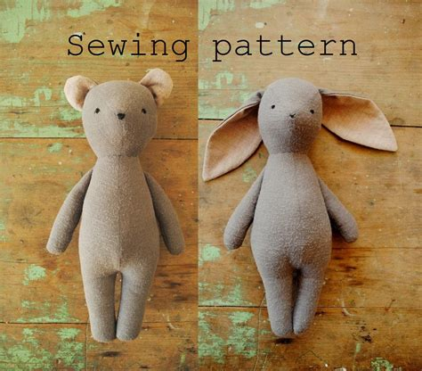 Handmade Soft Toys Free Patterns - soft sewing pattern bunny or doll pdf tutorial by