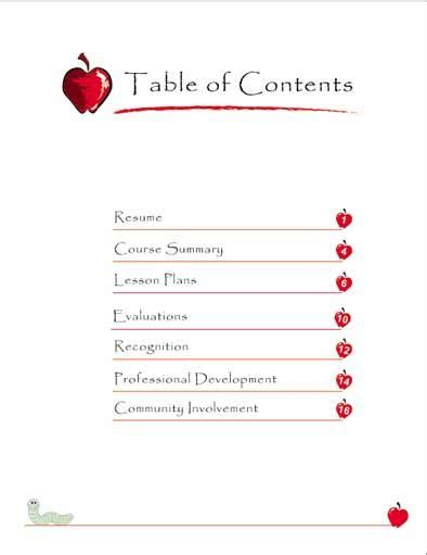 professional teaching portfolio template teaching portfolio table of contents employment