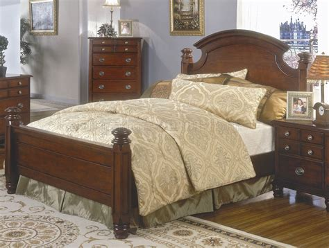 brown cherry finish classic bedroom set wqueen size bed