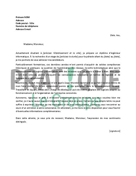 Lettre De Motivation Stage Informatique Pdf Lettre De Motivation Pour Un Stage D Ing 233 Nieur Informatique Pratique Fr