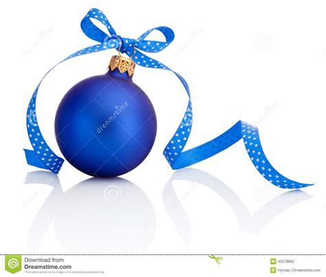 blue christmas ball with ribbon bow isolated on white