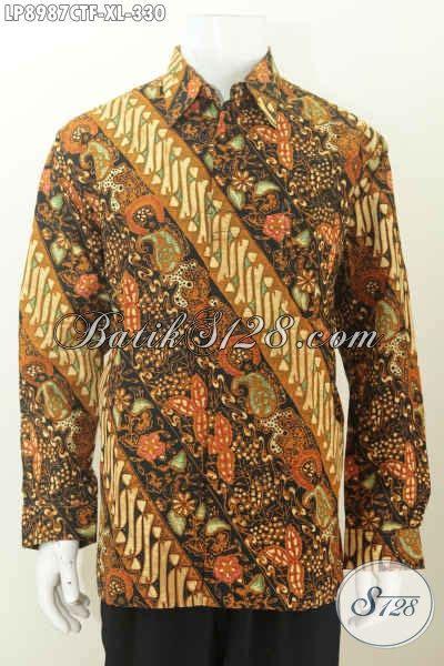 Baju Batik Pria Cap Tulis Size Xl Ct3586ld baju batik lengan panjang untuk pria hem batik klasik cap tulis daleman pake furing hanya