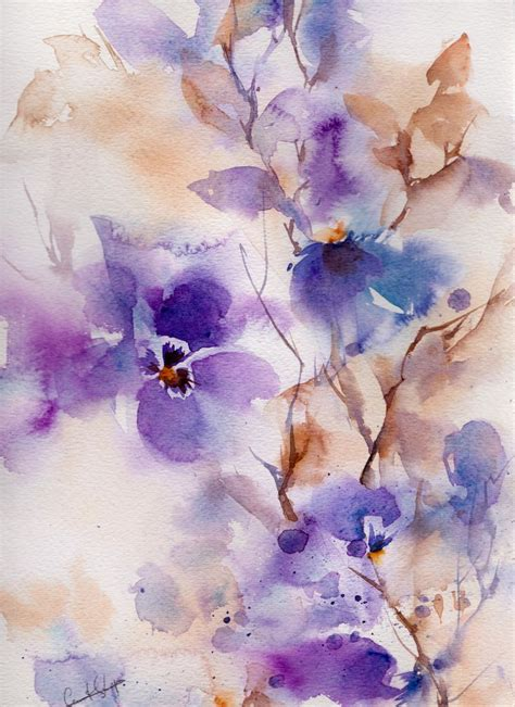 The Watercolour Flower Artist S Bible abstract purple floral painting original watercolor painting watercolour flower