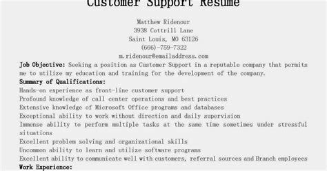 Resume Sle For Technical Support Specialist Customer Servicesales Support Resume 28 Images Customer Service Resume Sles Writing Guide