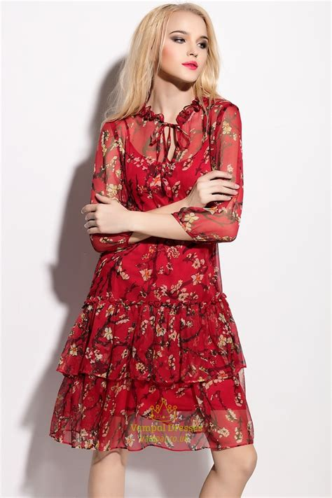 floral print chiffon overlay knee length dress