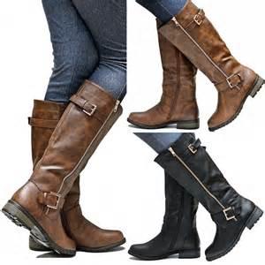 new fmg51 brown black gold zipper knee high
