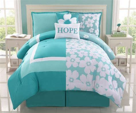 Aqua And White Bedding by 5 Pc Aqua And White Reversible Floral