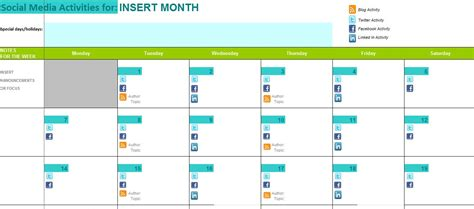 social media posting schedule template best photos of social media marketing calendar template