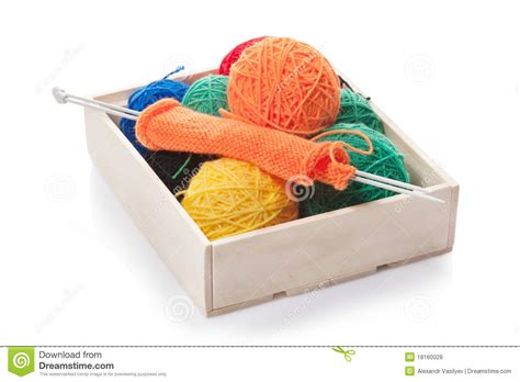 knitting box clews the yarn for knitting in the wooden box royalty free