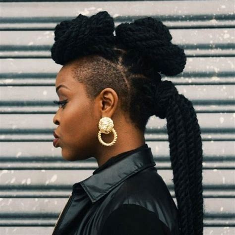 african american women hairstyle thats shaved on both side 51 kinky twist braids hairstyles with pictures