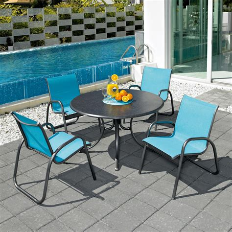 4 Chair Patio Set Telescope Casual Gardenella 4 Person Sling Patio Dining Set With Stacking Chairs And 42 Inch