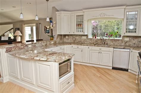 Wall Colors For Kitchens With White Cabinets by Typhoon Bordeaux Granite With Full Backsplash
