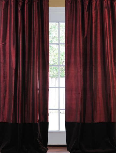 brown velvet curtains banded merlot thai silk with kona brown velvet curtain