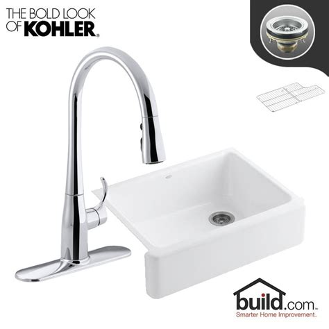 kohler stainless steel sink and faucet package kohler vault k 3821 4 package sink and faucet combo