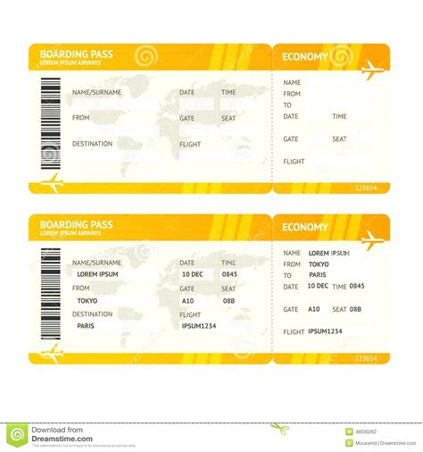 flight reference card template mock airline ticket template