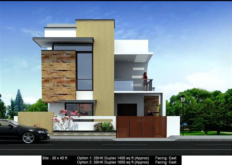 home design for 30x40 site front elevation of east facing house in india joy studio