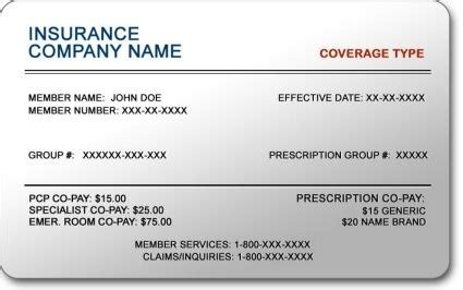 proof of insurance card template insurance cards templates resume builder