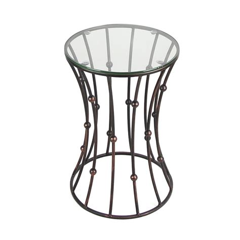 metal accent table with glass top joveco black accent metal curve shaped round end table