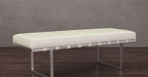 andalucia bench andaluc 237 a white and stainless steel modern leather button